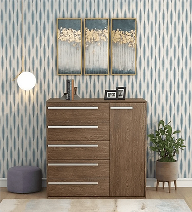 Kika Chest of 5 Drawers in Brown Finish