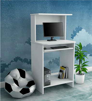 Aroma Computer Table in Satin White Colour
