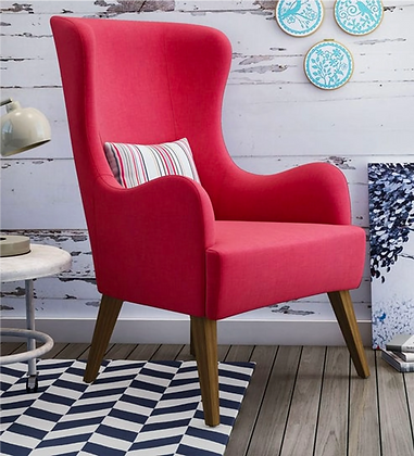 Deo Wing Chair in Pink Color