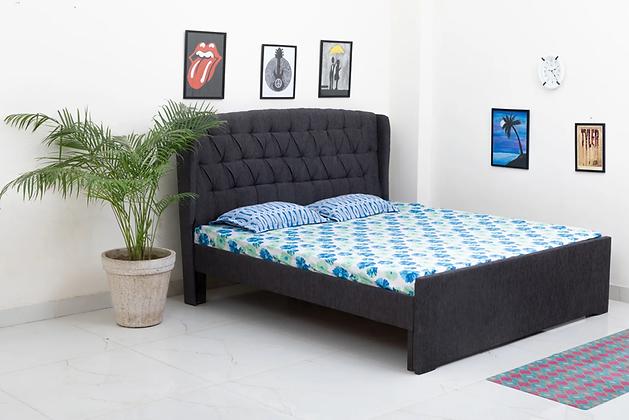Italian Style Fabric Bed in Dark Grey Colour