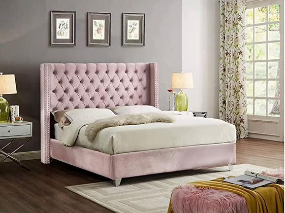 Uno Wing Fabric Bed in Pink Color
