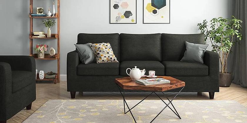 Cristal Sofa Set in Black Color