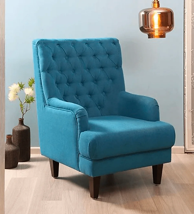 Bronze Wing Chair in Blue Color