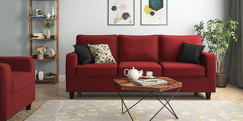 Cristal Sofa Set in Red Color