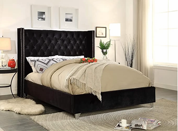 Uno Wing Fabric Bed in Brown Color
