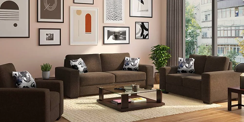 Star High Sofa Set in Brown Color
