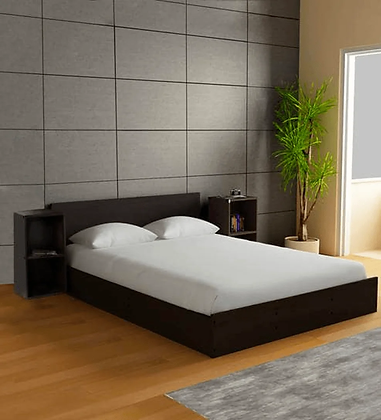 Ren Bed with Two Side table in Brown Color