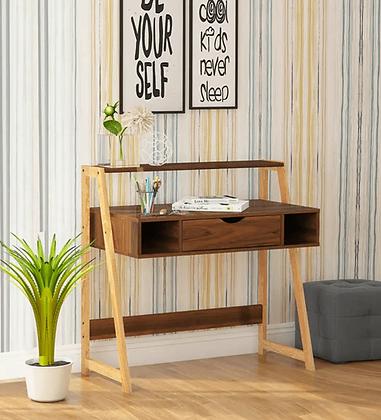Yasika Study Desk with One Drawer in Columbia Walnut Finish