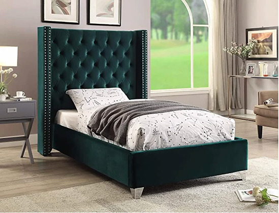 Coho Wing Fabric Bed in Green Color