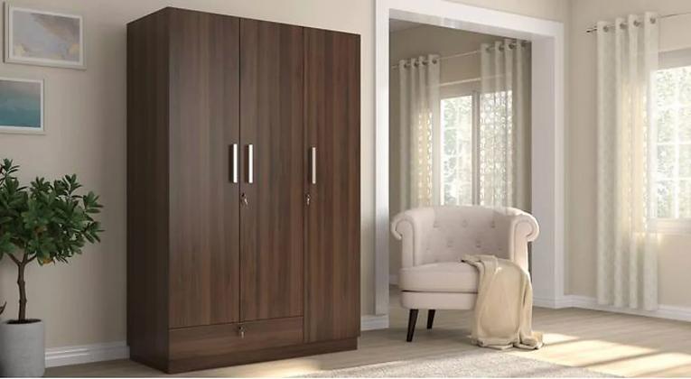 Baccam Three Door Wardrobe in Brown Color