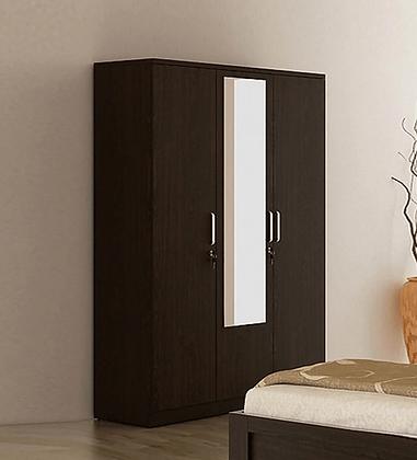 Chronic Three Door Wardrobe in Brown Colour