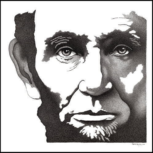 Lincoln Eyes Original Pen and Ink Canvas