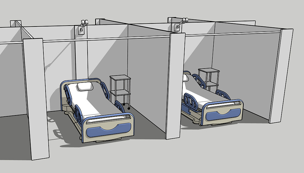 Hospital temporary screen bed partitions virus
