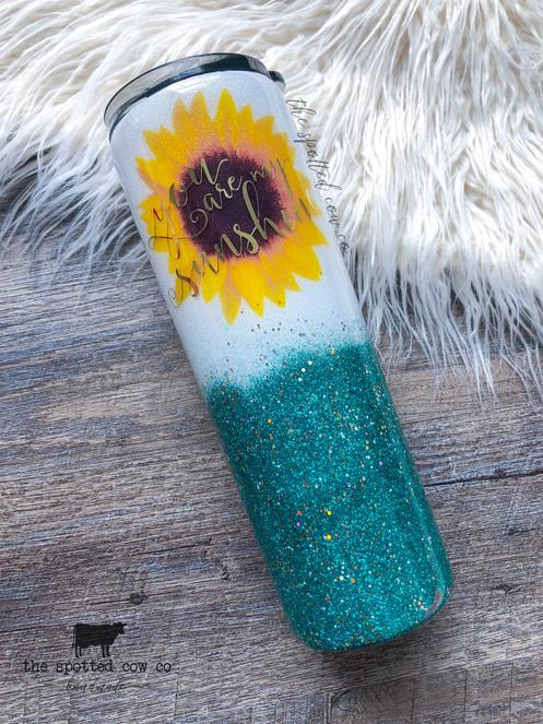 Teal Sunflower Glitter Tumbler