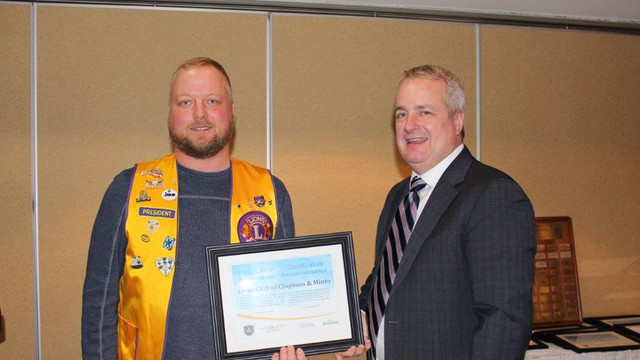 Lions Club of Chipman and Minto receives certificate