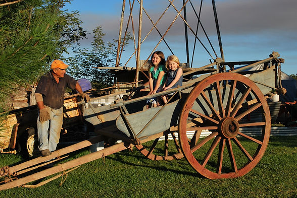 Old Dray, Wagon Wheel, Grandchildren,