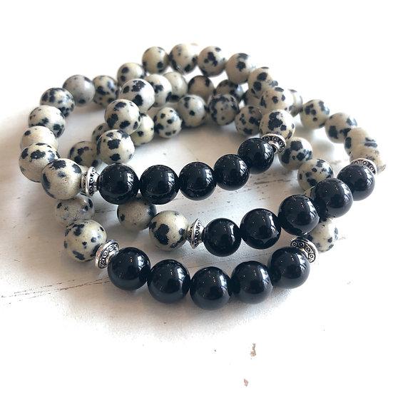 Black Onyx + Dalmatian Jasper Bracelet