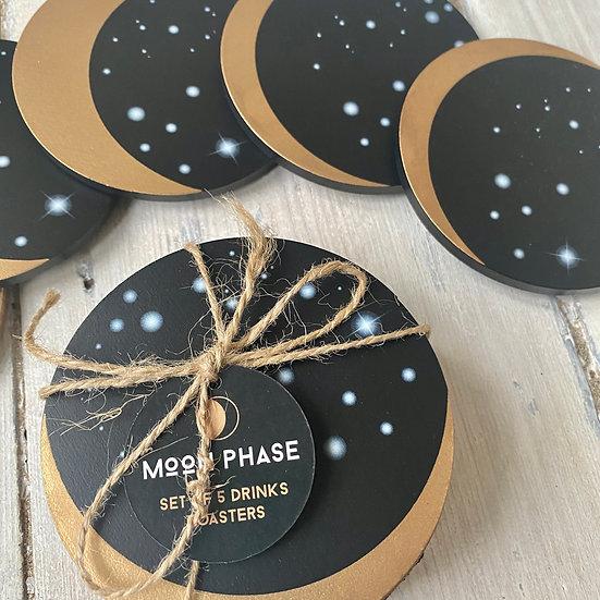 5 Piece Moon Phase Coaster Set