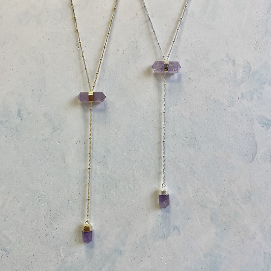 On Point Necklace - Amethyst