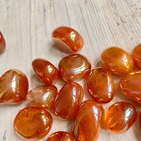 Tangerine Quartz Aura Tumbles