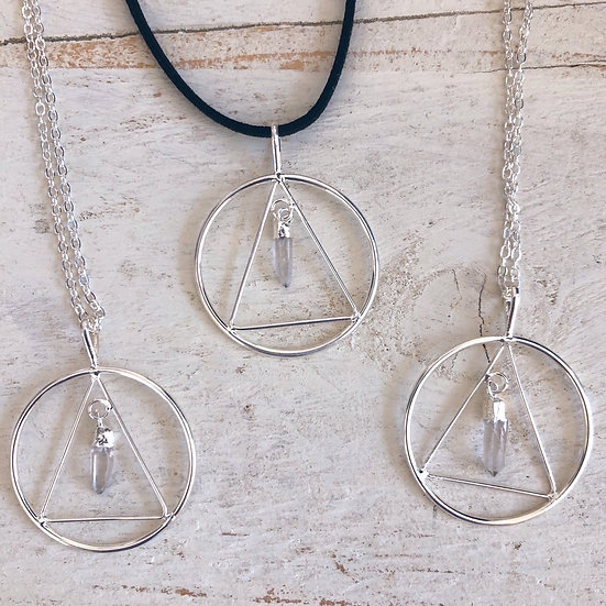 Clear Quartz Geometric Necklace