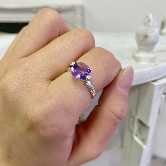Amethyst Faceted Oval 925 Silver Ring - Adjustable