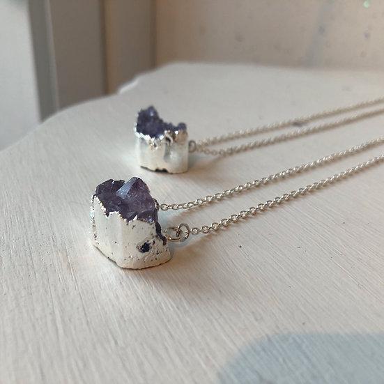 Half Moon Amethyst Druze Necklace