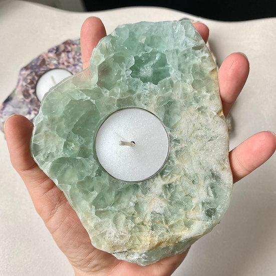 Green Fluorite Slice Tea Light Holder