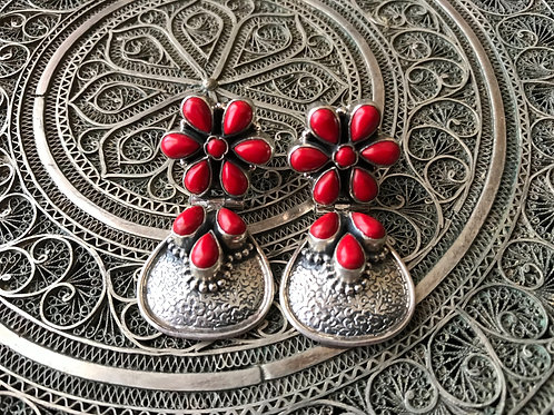 Floral Coral Silver Earrings