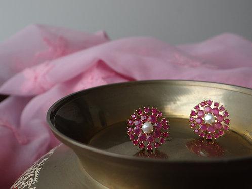 Semi Precious Ruby and Pearl Stud Earring