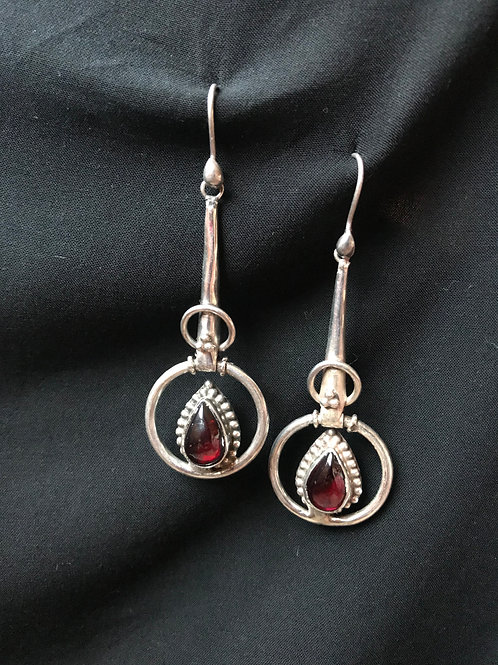 silver earing with red agate stone