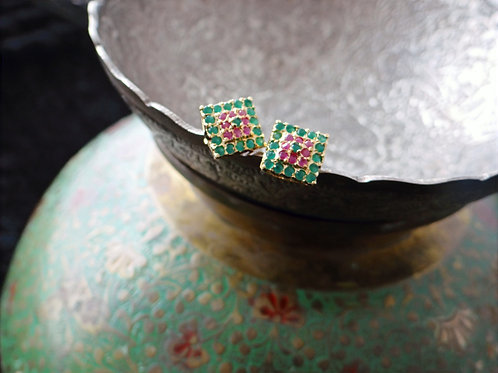 Semi Precious Ruby and Emerald Stud Earring