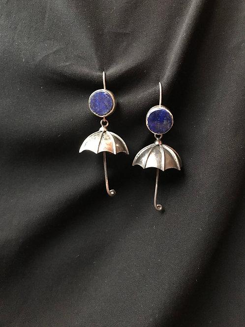lapiz lazuli silver umbrella earring