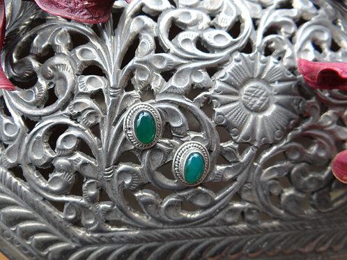 Semi Precious Emerald Silver Stud
