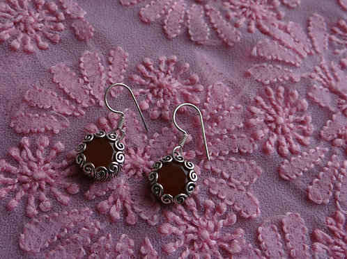 Coral Silver Dangle Earring