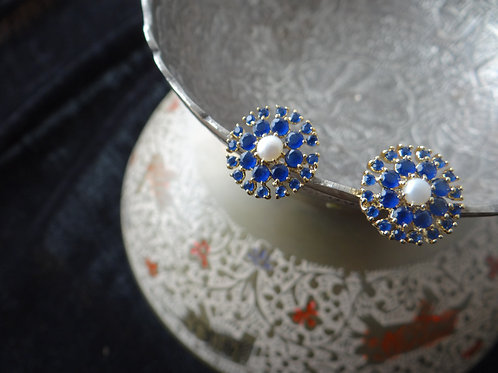 Blue Sapphire and Pearl Stud Earring