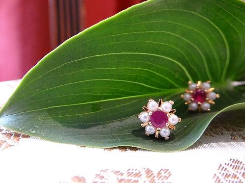 hyderabadi pearl and ruby stud earring