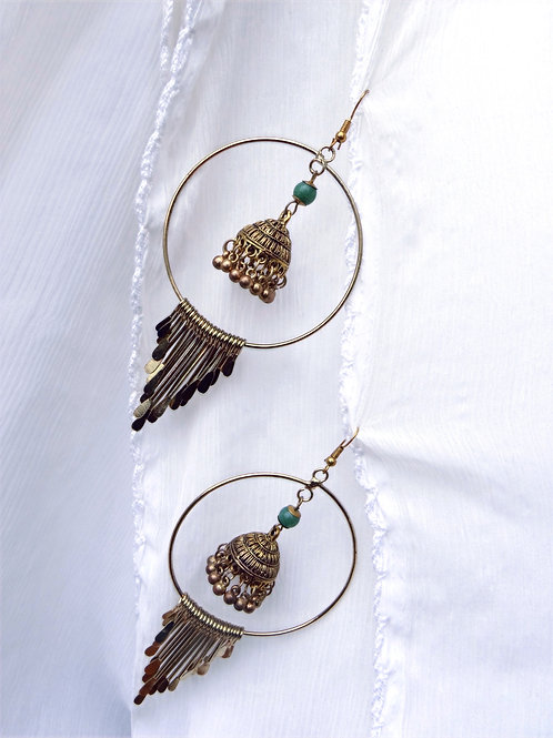 Large Brass Earrings Gold Painted