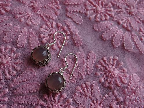 Rose quartz silver dangle earring