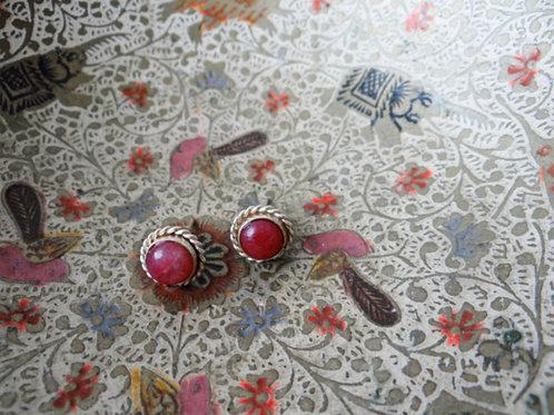 Ruby Sterling Silver Stud Earring