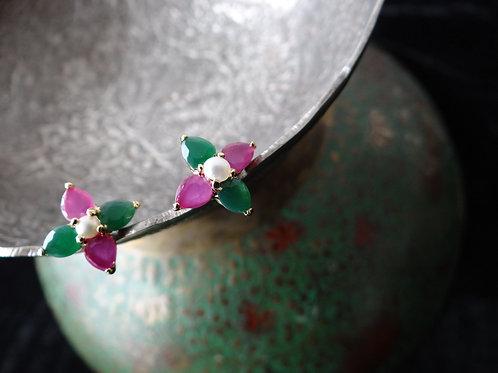 Semi Precious Ruby and Emerald Stud Earring