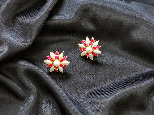 hyderabadi pearl and ruby stud earring