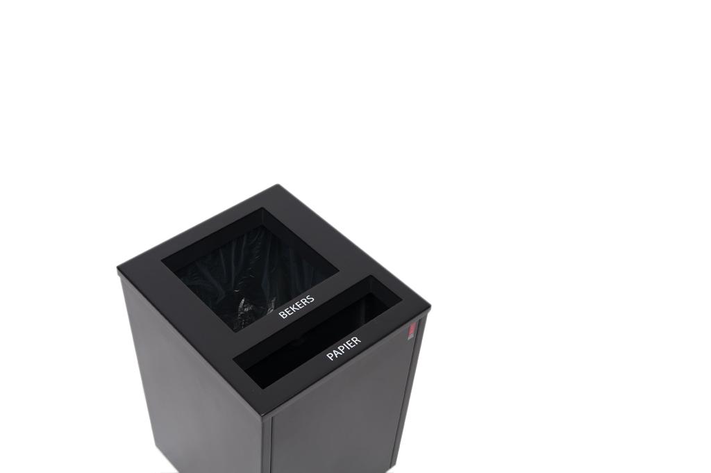 Afvalbak Artho zwart, duo afvalbak