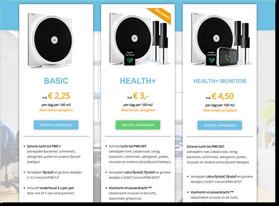LightAir Health+ abonnementen