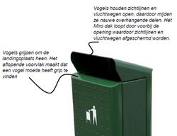 Buiten afvalbak geen vogel overlast