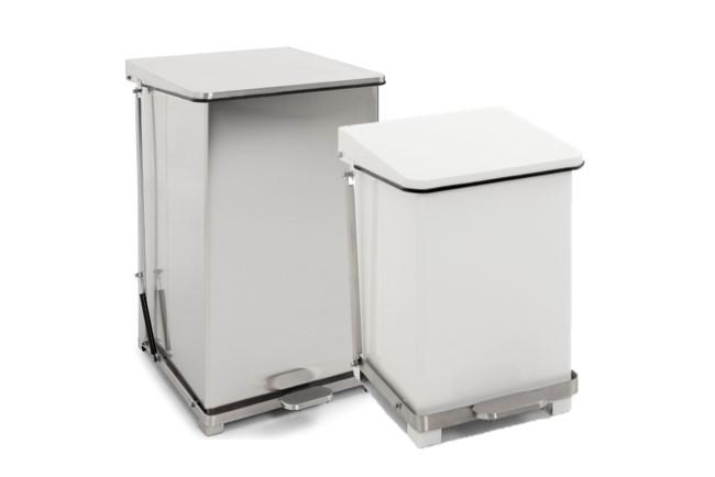 HACCP afvalbak, pedaalemmer wit/RVS