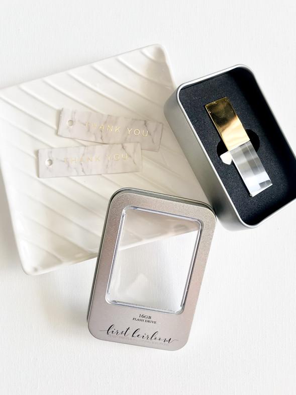 First Heirloom Illuminating Crystal USB and Linen Photobox Keepsake