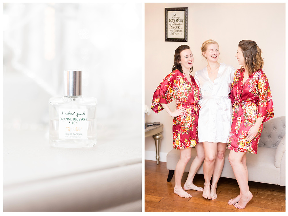 Perfume of Orange Blossom Team with bride and bridesmaids standing.Wearing gowns.