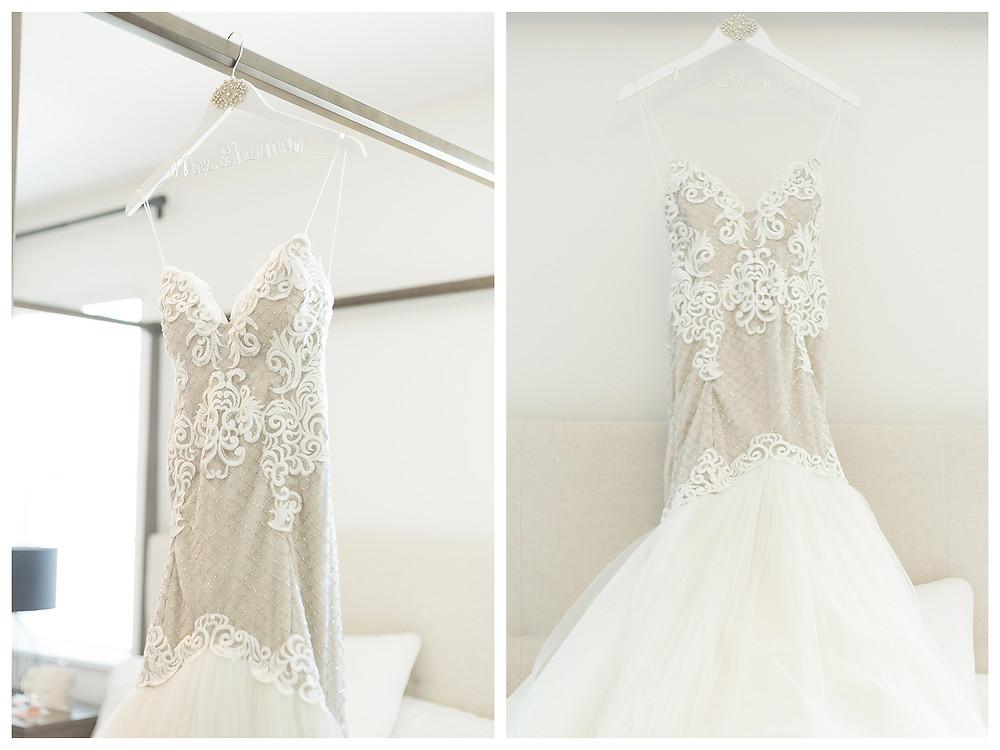 Bridal dress on custom hanger