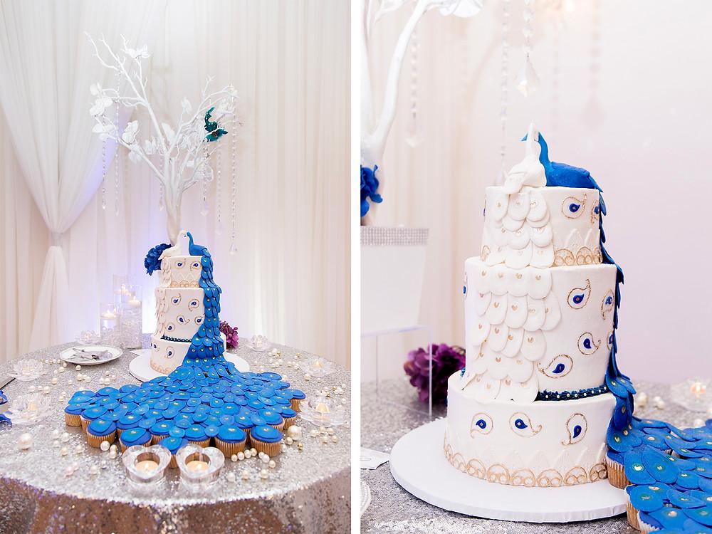 3 tier wedding cake. Wedding couple in orlando florida at crystal ballroom veranda.